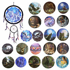 """13"""" Round Dream Catcher Wall Hanging Eagle Deer Wolf Horses Owl Native American"""