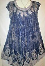 Dress Plus Size Blue Tie Dye Batik Mumu Sz 2X/3X NEW Free Ship to US