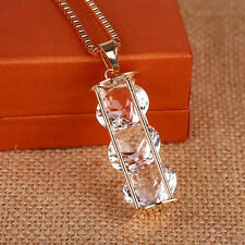 Pendant  Three zircons Necklace  Crystal  cylinder  Long chain Hollow  Fashion
