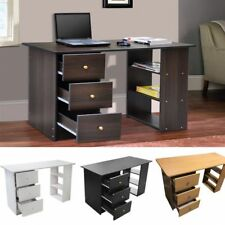 Computer Desk Table with Cupboard Shelves & Drawers Storage For Home Office