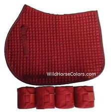 BURGUNDY English All Purpose A/P or Dressage Saddle Pad & Polo Wraps NEW Horse