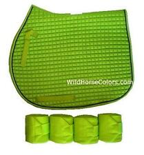 LIME GREEN English All Purpose A/P or Dressage Saddle Pad & Polo Wraps NEW Horse