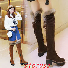 Furry Women Lady Cuban Heel Over Knee High Boots Shoes Snow Boots Size 34-43#g
