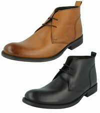 MENS LEATHER LACE UP SMART CASUAL ANKLE BOOTS BASE LONDON TEAK MTO