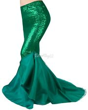 Sexy Mermaid Women Halloween Costume Sequin Fancy Party Maxi Dress Tail Skirt NT