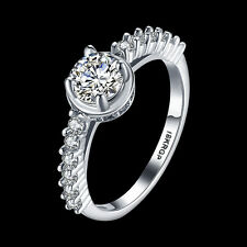 Wedding Rings Charm Ring Size 6-9 Crystal 18KGP Silver Engagement Gift For Women