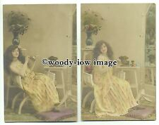 su2419 - Young Woman sitting in chair with cigarette - 2 postcards