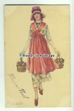 su2404 - Young Woman with baskets & wearing hat - artist S Bompard - postcard