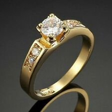 Simulated Diamond 18ct Yellow Gold-Layered Solitaire Rings Simulated Diamond