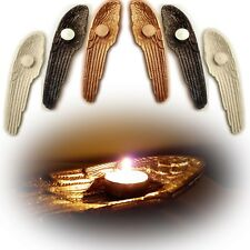 Large Guardian Angel Wing Votive Tealight Candle Holder Gold White Ornament