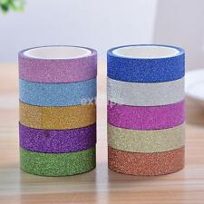 New 10m Glitter Sticky Paper Masking Adhesive Tape Label DIY Craft Decorative US