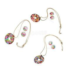 Round Colorful Olympic Torch Design Enamel Jewelry Pendant Necklace Earring Set