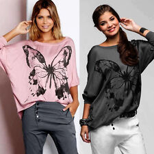 Women Butterfly Print  Casual Batwing Sleeve Shirt Blouse Ladies Loose Tee Tops