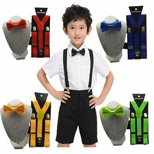 Kids Clip-on Suspenders Elastic Adjustable Braces With Cute Bow Tie