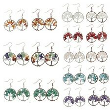 Pair Women Drop Hook Dangle Earring Tree of Life Natural Stone Lady Gift Jewelry