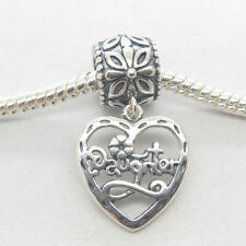 Genuine Authentic S925 Sterling Silver Daughter Dangle heart charm