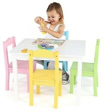 Kids Table And Chair Set Wood Childrens Furniture Pastel Colors Toddler 4 Seats