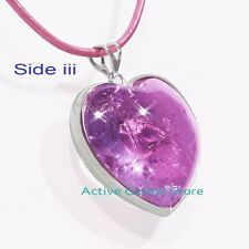 New Natural Amethyst Crystal 925 Silver Heart Love Pendant LeatherRope Neckllace