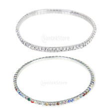 Silver Crystal Diamate Single ROW Ankle Bracelet ANKLET Chain Bridal WEDDING New