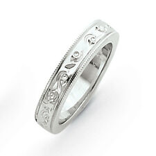 14K White Gold 5mm Fancy Etched Design Wedding Band Ring Sizes 5 - 12