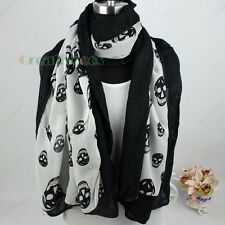 Fashion Women Lady Skull Print Chiffon 2Layer Winter Warm Long Scarf Shawl Wrap