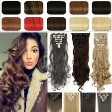 8Pcs Long Curly Wavy Straight Full head clip in on hair extensions 30 Colors Fa1
