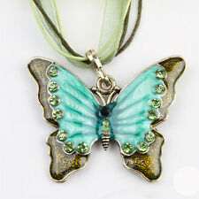 Fashion Long Rhinestone Butterfly Pendent Necklace Sweater Chain Multicolor