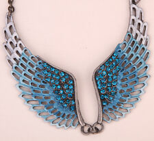 Angel wings choker necklace women biker jewelry gifts NM06 antique silver plated
