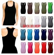 New Ladies Long Sleeveless Bodycon Racer Back Muscle Vest Womens MaxiTop 8-14Rcr
