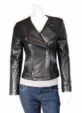 Womens Collarless BLACK Real Leather Jacket X-Zip Fitted Biker Lambskin Coat NEW