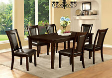 Kitchen Dining Room 7pc Dining Set Dark Cherry Leatherette Chairs Dining Table