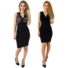 Womens Celebs Sleeveless Plunge V Neck Contrast Ladies Lace Padded Bodycon Dress