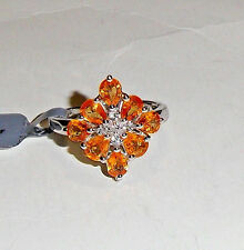 RARE ORANGE SPESSARTITE GARNET OVAL CLUSTER RING, SILVER, SIZES 7 & 8, 3.31(TCW)