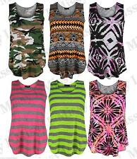 Womens Girls Sleeveless Stripe Aztec Army Print Muscle Vest T-Shirt Tank Top