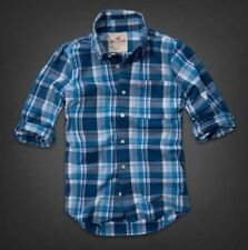 NWT HOLLISTER MENS XL REEF POINT BLUE PLAID LONGSLEEVE SHIRT