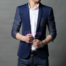 Fashion Mens Slim fit Casual Suit Stripe One Button Blazer Coats Chic Jacket HOT