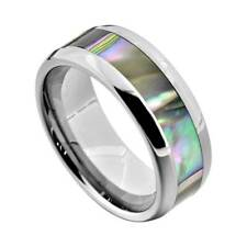 Tungsten 8mm Band Abalone Shell Inlay Round Edge Men's Wedding Ring
