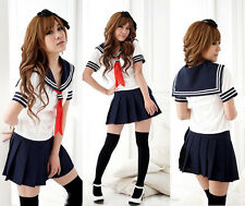 New Japanese High School Girl Sailor Uniform Cosplay Costume dress Set