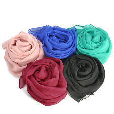 Women Silk Solid Shawl Wrap Scarves Long Wraps Shawl Beach Silk Scarf YK