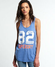 New Womens Superdry Trackster Vest Top Snowy Royal Blue