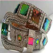 Western Cowgirl Rhinestone Iridescent Concho Hair on Hide Leather Belt Lt Ed lot