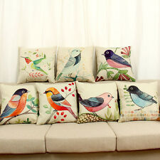 Pretty Flower Birds Printing Home Bedroom Sofa Decor Pillow Case Cushion Cover