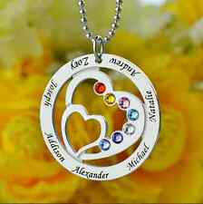 Heart in Heart Birthstone Family Name Necklace Personalized 925 Sterling Silver