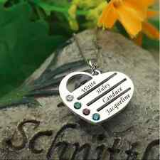 Personalized Heart Necklace Engraved Family Names Birthstone 925 Sterling Silver