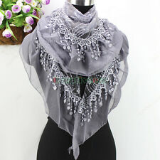 New Fashion Embroidery Floral Lace Sequins Tassel Chiffon Ruffle Triangle Scarf