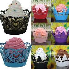 24Pcs Christmas Hollow Lace Cup Muffin Cake Paper Case Wraps Cupcake Wrapper Hot