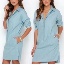 Women's Loose Long Shirt Tops Button Lapel Shirt Dress Casual Denim Jean Dress