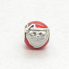 Genuine Sterling Silver Jolly Santa with Red and White Enamel Bead charm