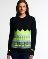New Womens Superdry Ombre Brushed Fairisle Knit Navy