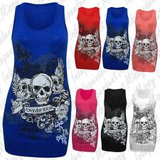Womens Ladies Forever Young Skull Wings Printed Long Vest Top T Shirt 8-22